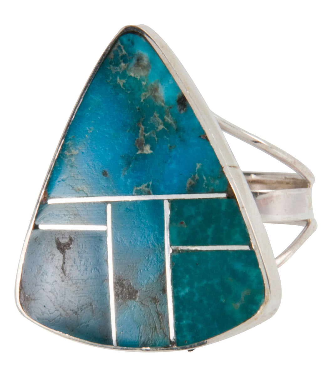Navajo Native American Turquoise Mountain Turquoise Ring Size 8 3/4 SKU228069