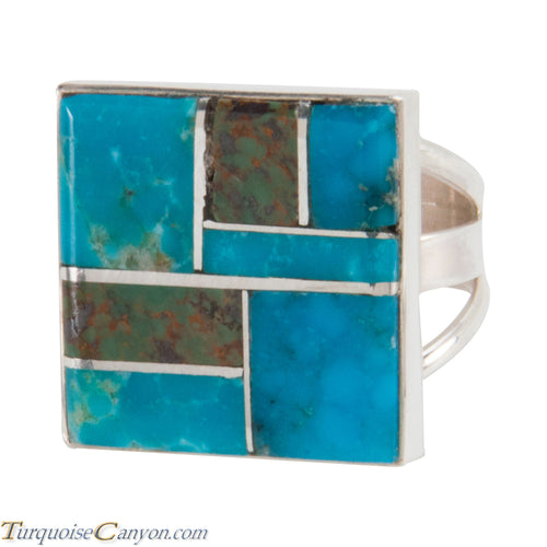Navajo Native American Turquoise Inlay Ring Size 5 1/2 SKU228071