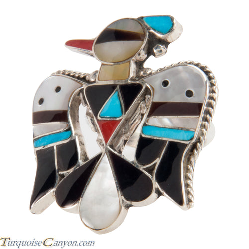 Zuni Native American Turquoise Inlay Thunderbird Ring Size 7 1/4 SKU228095