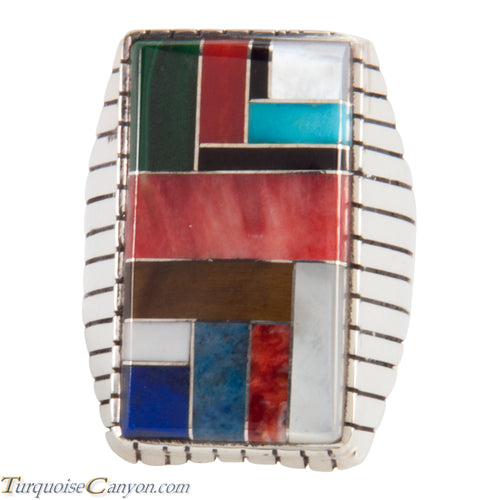 Navajo Native American Turquoise Lapis Inlay Ring Size 11 1/2 SKU228104