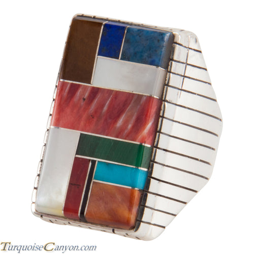 Navajo Native American Turquoise Lapis Inlay Ring Size 11 by Jack SKU228108