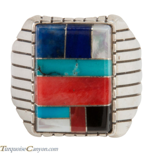 Navajo Native American Turquoise Lapis Inlay Ring Size 11 3/4 SKU228109