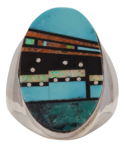Navajo Native American Turquoise Pueblo Inlay Ring Size 10 3/4 SKU228114