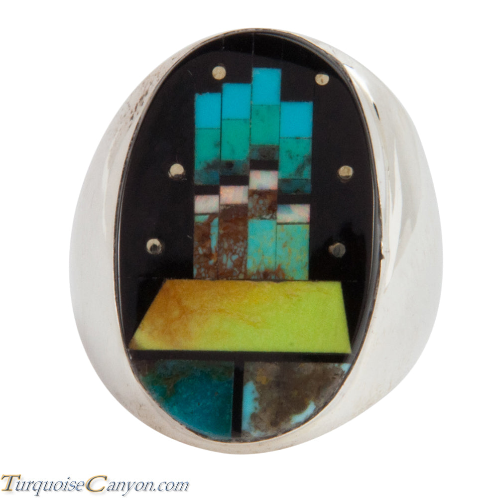Navajo Native American Turquoise Butte Inlay Ring Size 10 1/4 SKU228116