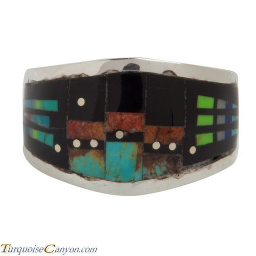 Navajo Native American Pueblo Style Turquoise Inlay Ring Size 8 1/2 SKU228134