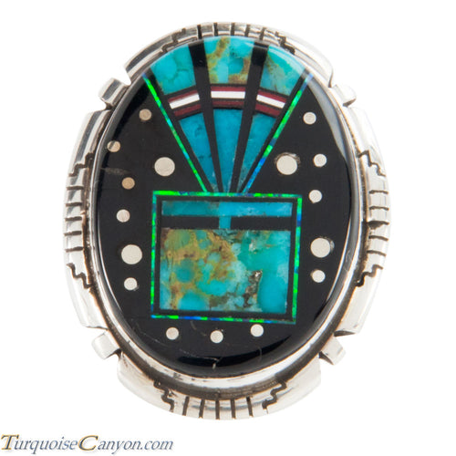 Navajo Native American Turquoise Yei Ring Size 4 1/2 by Skeets SKU228138