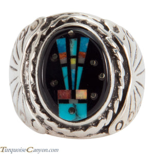 Navajo Native American Turquoise Inlay Yei Ring Size 8 1/2 SKU228155