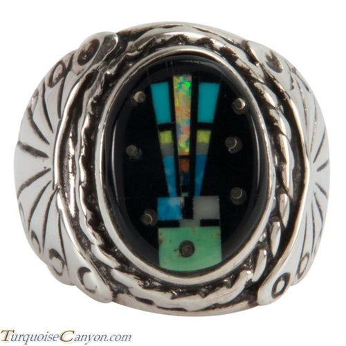 Navajo Native American Turquoise Inlay Yei Ring Size 8 1/2 SKU228156