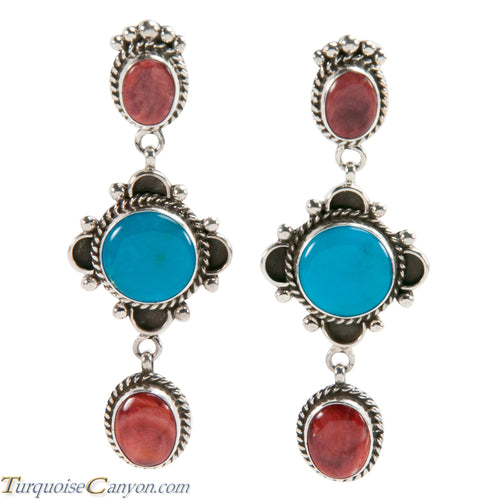 Navajo Native American Turquoise and Orange Shell Earrings by Wylie SKU228191