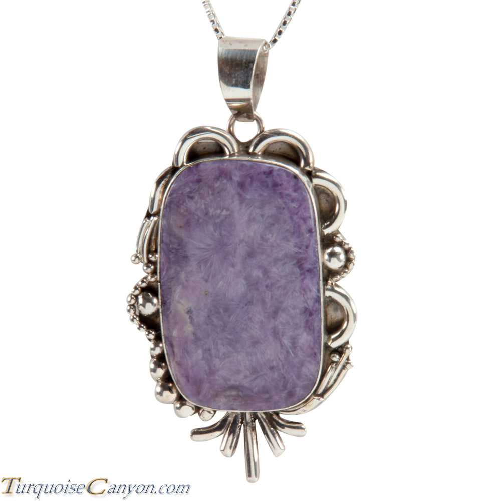 Navajo Native American Charoite Pendant Necklace by Scott Skeets SKU228286