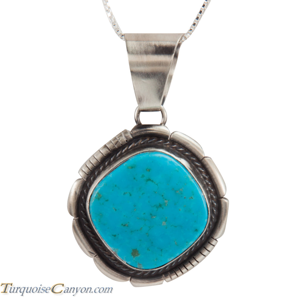 Navajo Native American Kingman Turquoise Pendant Necklace by Lee SKU228307