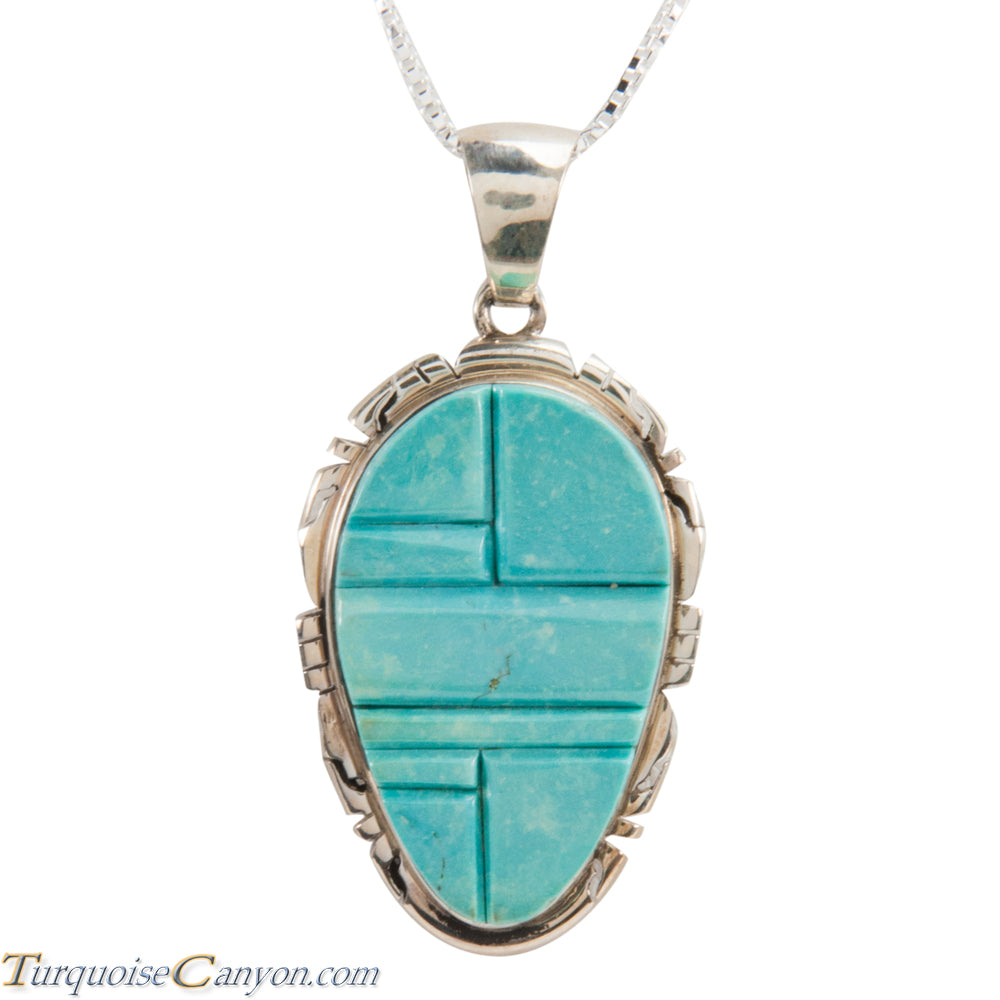 Navajo Native American Turquoise Pendant Necklace by Pete Skeets SKU228319