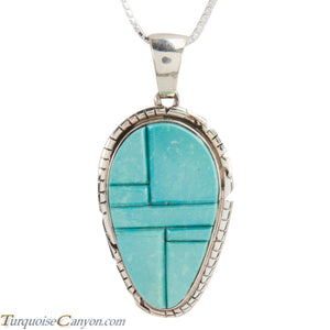Navajo Native American Turquoise Pendant Necklace by Pete Skeets SKU228320