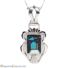 Load image into Gallery viewer, Navajo Native American Turquoise Inlay Pendant Necklace by Kelly SKU228367