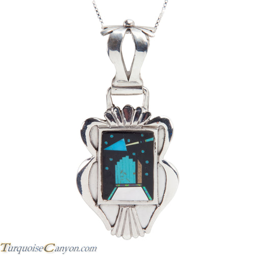 Navajo Native American Turquoise Inlay Pendant Necklace by Kelly SKU228367