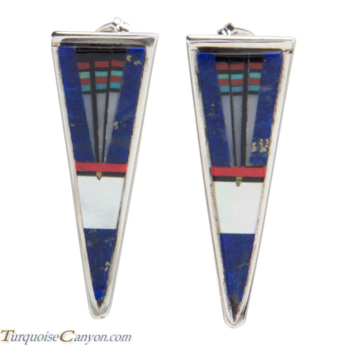 Navajo Native American Lapis Inlay Earrings by Gilbert Smith SKU228378