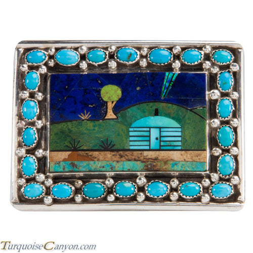 Navajo Native American Turquoise Belt Buckle by Etcitty and James SKU228421