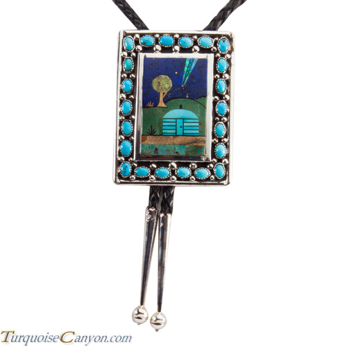 Navajo Native American Turquoise Bolo Tie by Etcitty and James SKU228422