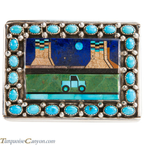 Navajo Native American Turquoise Belt Buckle by Etcitty and James SKU228423