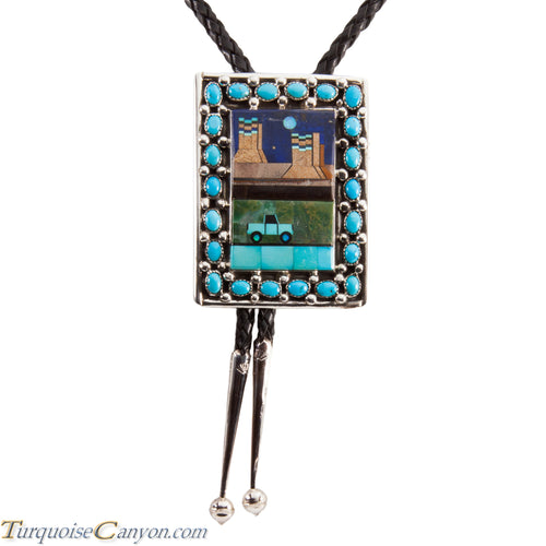 Navajo Native American Turquoise Bolo Tie by Etcitty and James SKU228424