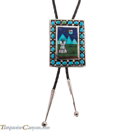 Navajo Native American Turquoise Bolo Tie by Etcitty and James SKU228425