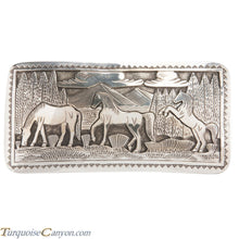 Load image into Gallery viewer, Navajo Native American Sterling Silver Horse Belt Buckle by L Lee SKU228433