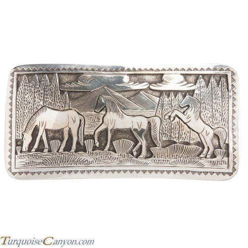 Navajo Native American Sterling Silver Horse Belt Buckle by L Lee SKU228433