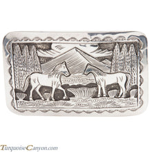 Load image into Gallery viewer, Navajo Native American Sterling Silver Horse Belt Buckle by L Lee SKU228434