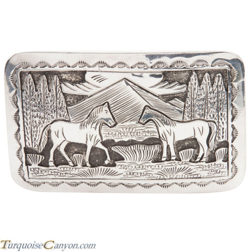 Navajo Native American Sterling Silver Horse Belt Buckle by L Lee SKU228434