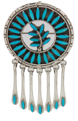 Zuni Native American Turquoise Pin and Pendant by Floyd Etsate SKU228442