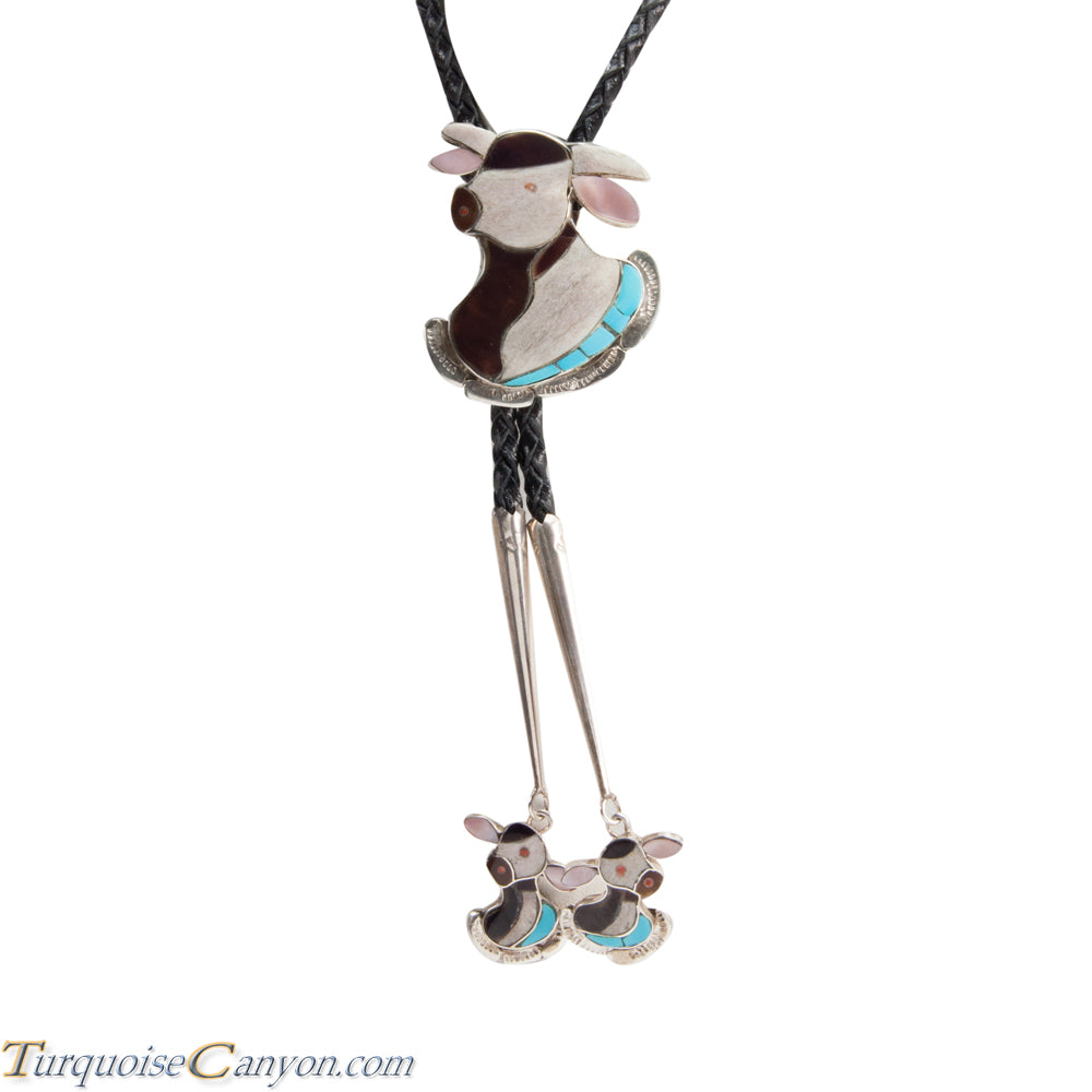 Zuni Native American Turquoise Steer Bolo Tie by Dean Qualo SKU228519