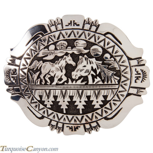 Navajo Native American Horse Sterling Silver Belt Buckle by Singer SKU228533