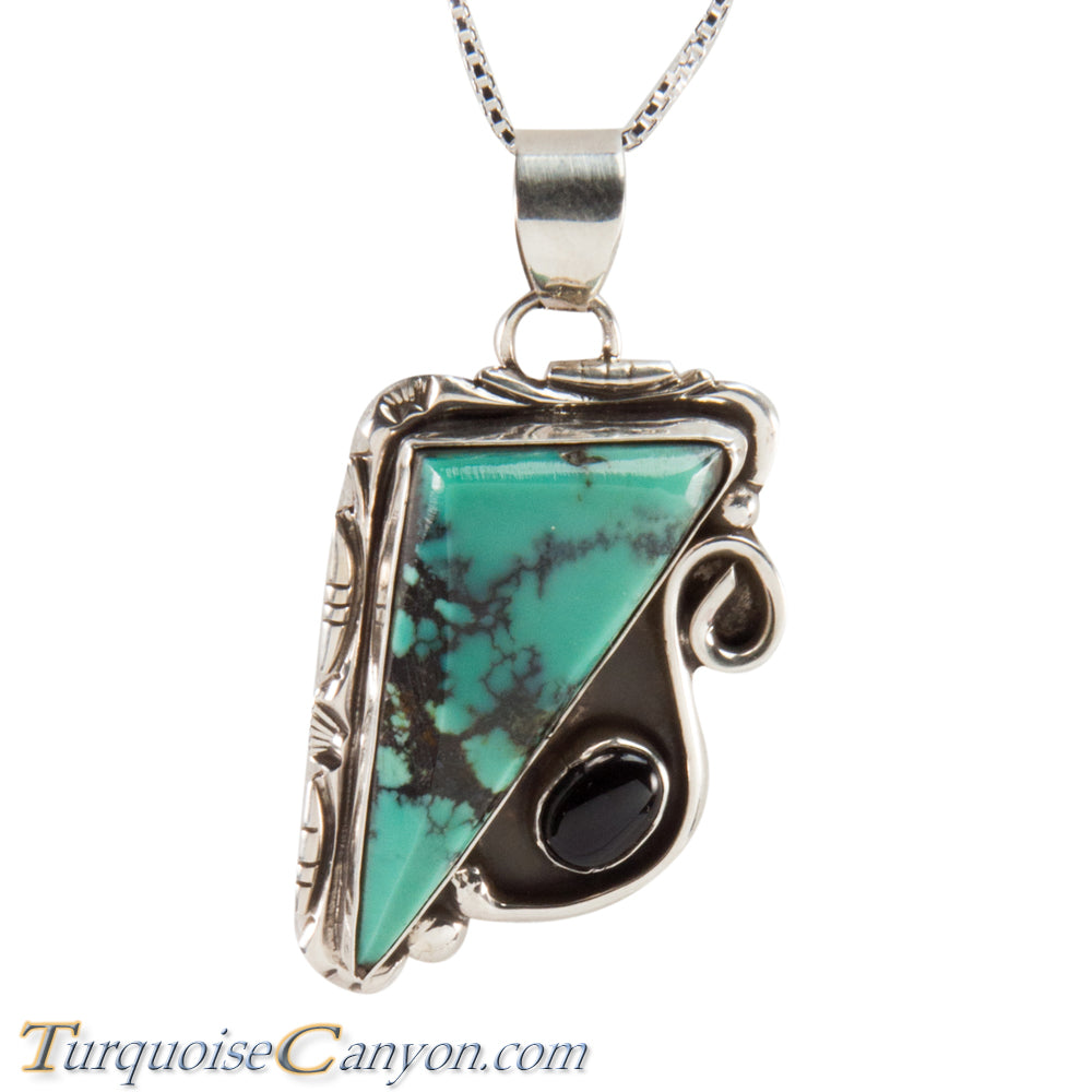 Navajo Native American Green Turquoise Pendant Necklace by Hicks SKU228691