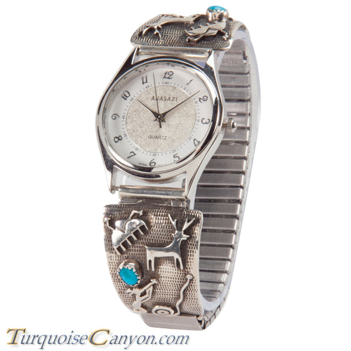 Navajo Native American Petroglyph and Turquoise Watch Tips SKU228696