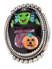 Load image into Gallery viewer, Zuni Native American Halloween Witch Pin Pendant by Bev Etsate SKU228733
