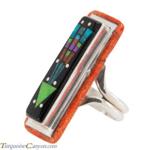 Load image into Gallery viewer, Navajo Native American Turquoise Coral Inlay Ring Size 8 by Smith SKU228766