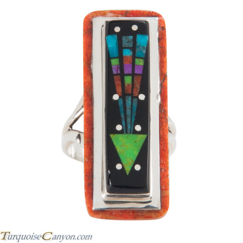 Navajo Native American Turquoise Coral Inlay Ring Size 8 by Smith SKU228766