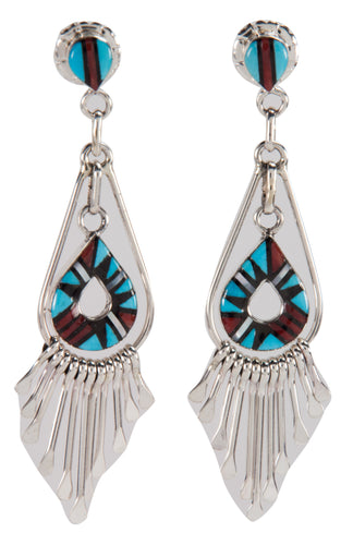 Zuni Native American Turquoise and Coral Inlay Earrings by Laahty SKU228787