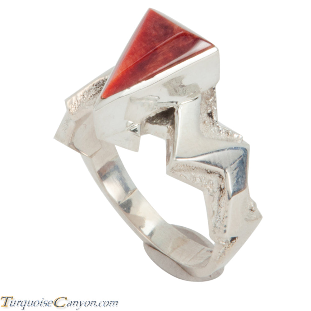Navajo Native American Orange Shell Ring Size 9 by Ronnie Henry SKU228863