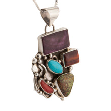 Load image into Gallery viewer, Navajo Native American Turquoise Gaspeite Coral Necklace Pendant SKU228922