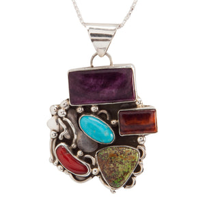 Navajo Native American Turquoise Gaspeite Coral Necklace Pendant SKU228922