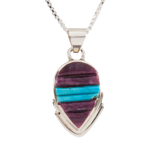 Navajo Native American Purple Shell and Turquoise Pendant Necklace SKU228927