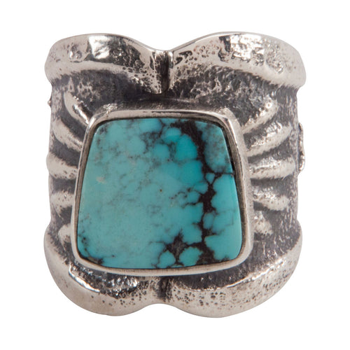 Navajo Native American Cloud Mountain Turquoise Ring Size 8 1/2 SKU228940