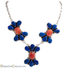 Load image into Gallery viewer, Navajo Native American Lapis and Orange Shell Necklace by Etsitty SKU228975