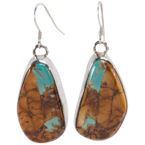 Navajo Native American Pilot Mountain Turquoise Earrings by Lee SKU228994
