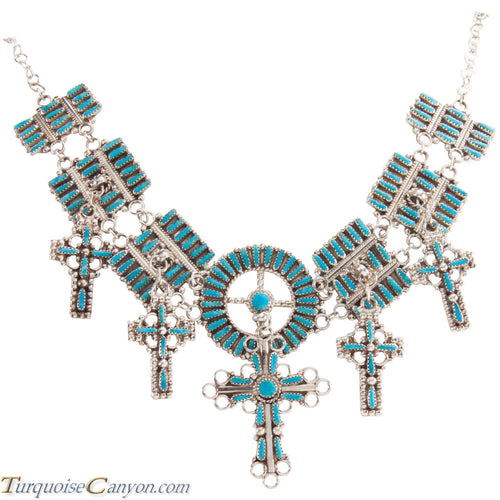 Navajo Native American Turquoise Cross Necklace by Lavell Byjoe SKU229006