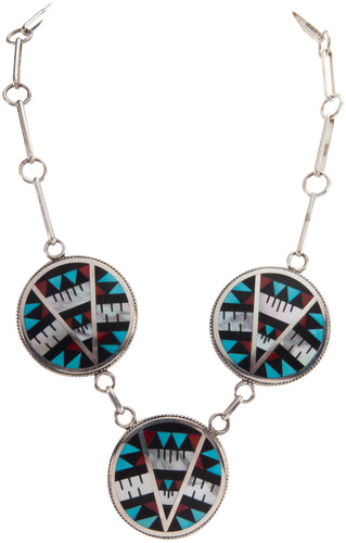 Zuni Native American Turquoise Inlay Necklace by Othole SKU229008