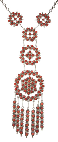 Zuni Native American Red Coral Petit Point Necklace by Wayne Johnson SKU229023