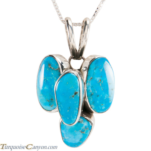 Navajo Native American Kingman Mine Turquoise Pendant Necklace SKU229040