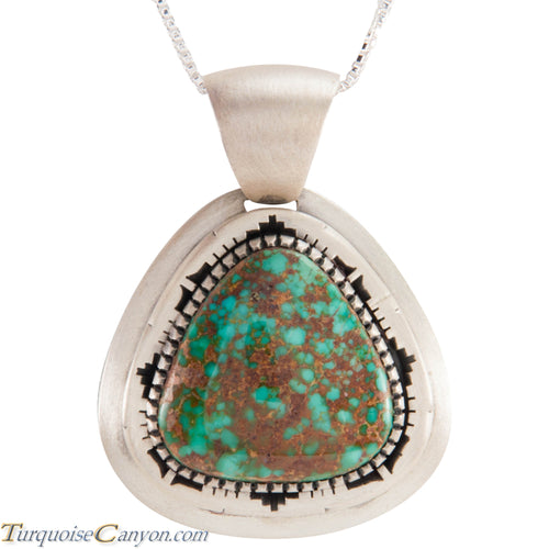 Navajo Native American Pilot Mountain Turquoise Pendant Necklace SKU229045